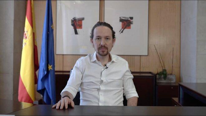 La vidéo de Pablo Iglesias, lundi. © Capture d'écran Podemos