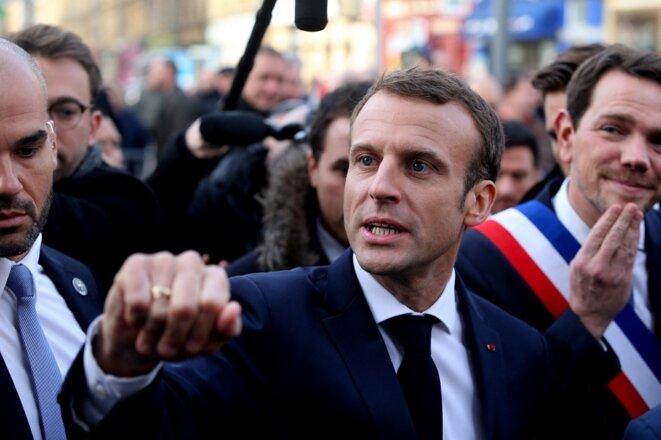 Emmanuel Macron à Charleville-Mézières en novembre 2018, devant Boris Ravignon. © François Nascimbeni / AFP