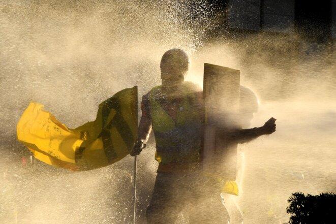 Un manifestant lors d'une manifestation le 23 février 2019, à Bordeaux. © Georges GOBET / AFP