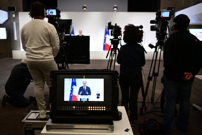Intervention de Jean Castex, le 18 mars. © Martin Bureau/POOL/AFP