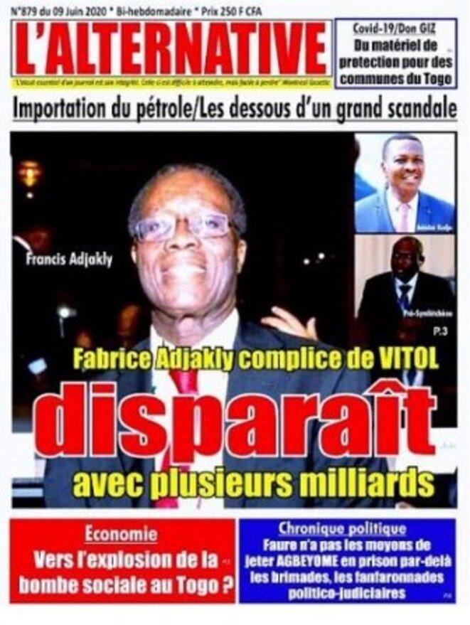 L'Alternative N° 879 du 9 juin 2020 Fabrice Adjakly complice de Vitol disparait avec plusieurs milliards