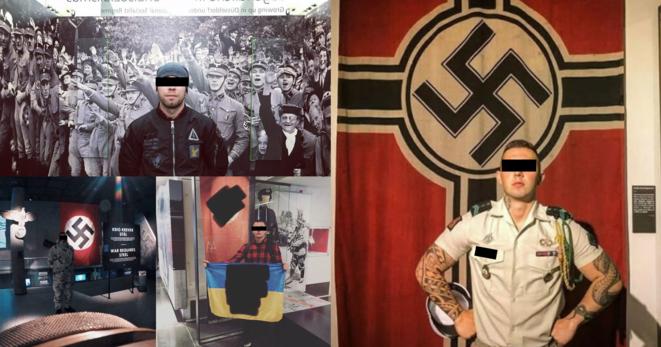 Collage realizado a partir de capturas de pantalla de las redes sociales. Los soldados comparten fotos en las que aparecen posando delante de banderas del Tercer Reich... expuestas en museos. © Mediapart