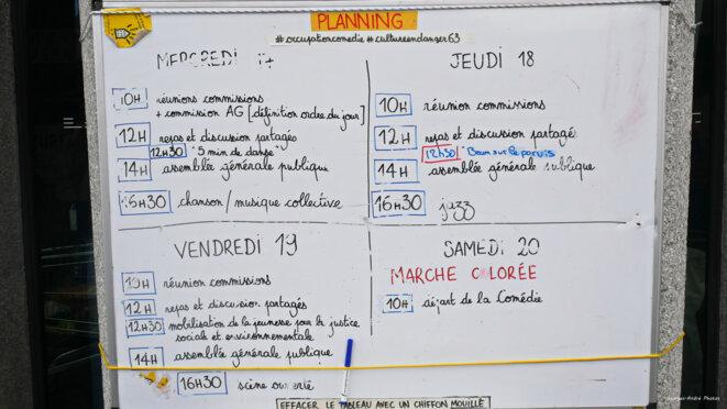 Le planning des activités de la semaine © Georges-André Photos
