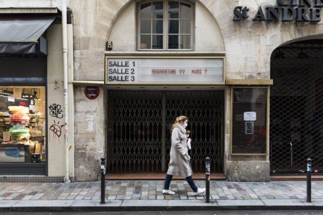 Une salle de cinéma à Paris, le 18 mars 2021. © Magali Cohen / Hans Lucas via AFP