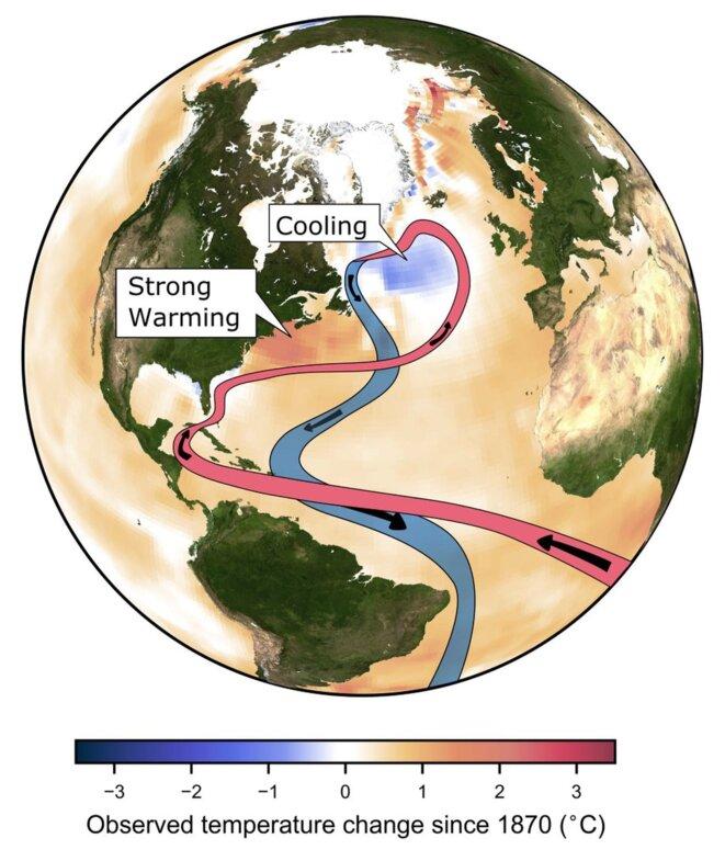 Réchauffement de l'océan de surface observé depuis 1870. Le refroidissement au sud du Groenland et le réchauffement à l'est des États-Unis sont des signatures attendues d'un ralentissement du Gulf Stream. © Crédits : Stefan Rahmstorf / @rahmstorf.