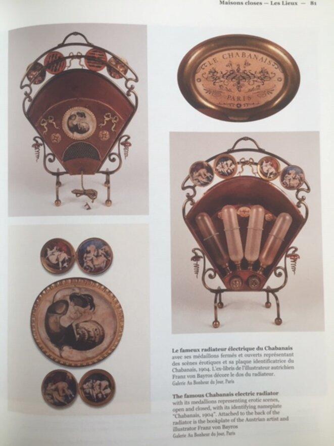 radiateur électrique du Chabanais avec ses médaillons représentant des scènes érotiques © 'Maisons Closes' - galerie Au Bonheur du Jour