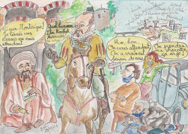 Rencontre d'un troisième type entre Averroes, Montaigne et des jeunes d'aujourd'hui © Les croquis de BA