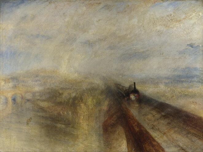 Pluie, vapeur et vitesse, le chemin de fer Great Western, 1844. © Joseph Mallord William Turner,