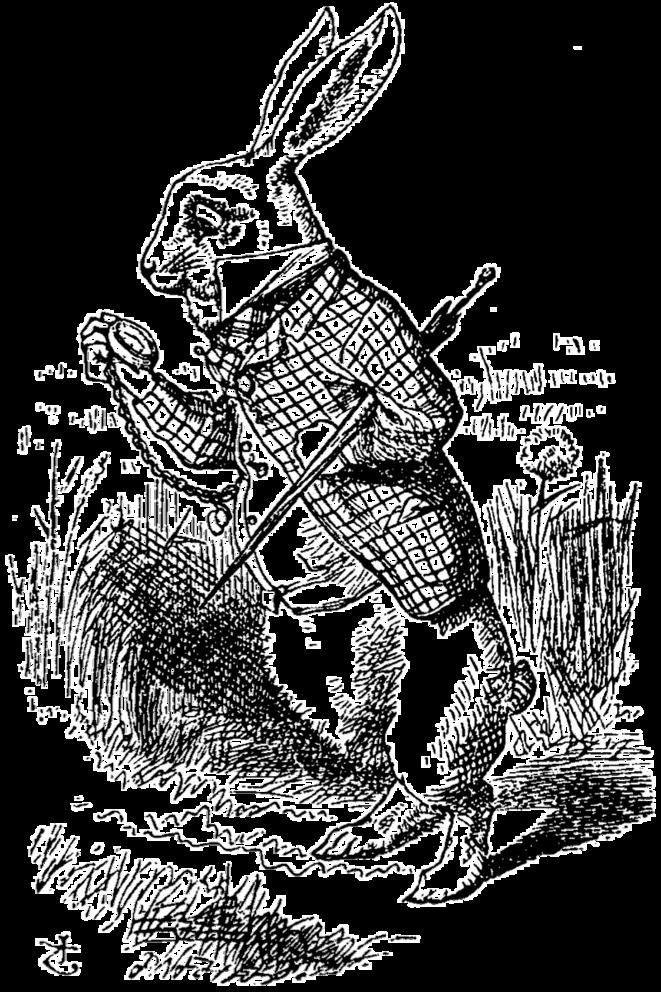 Portrait du lapin anthropomorphe de John Tenniel, apparaissant dans le premier chapitre des Aventures d'Alice au pays des merveilles (1865) de Lewis Carroll. © Par John Tenniel — optimization of Image:De Alice's Abenteuer im Wunderland Carroll pic 02.jpg, Domaine public, https://commons.wikimedia.org/w/i