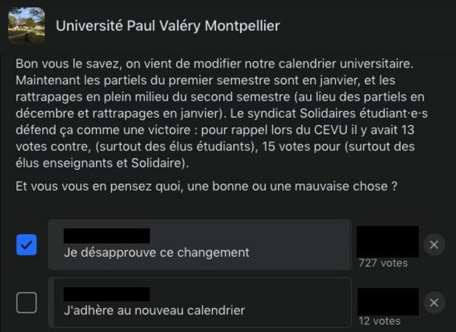 Sondage posté sur le groupe Facebook de la faculté Paul Valéry à propos du nouveau calendrier universitaire.