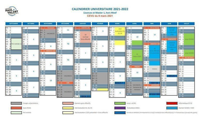 La nouvelle version du calendrier universitaire de l'Université Paul Valéry.