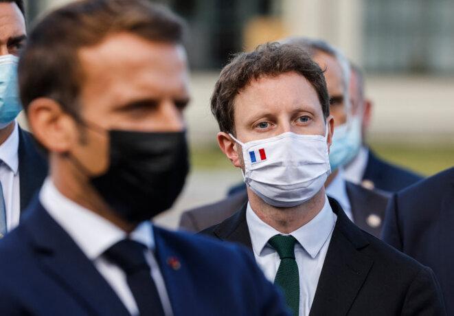 Emmanuel Macron et Clément Beaune, en septembre 2020. © Ludovic Marin / AFP