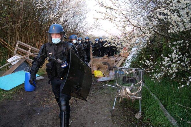 L'évacuation de la ZAD du Carnet, le 23 mars 2021. © Gendarmerie nationale