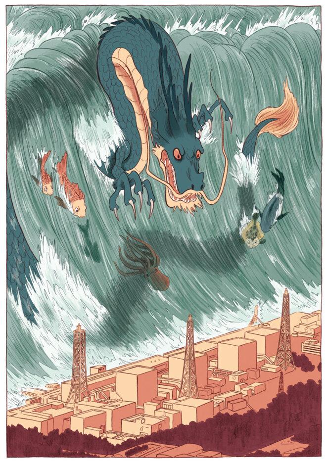 """La vague du tsunami de plus de 10m de haut arrive sur la centrale nucléaire de Fukushima Daiichi, dessinée par Ewen Blain dans la BD écrite par Fabien Grolleau """"Naoto, le gardien de Fukushima"""", Steinkis éditions."""