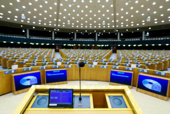 Dans l'enceinte du Parlement européen, à Bruxelles. © AFP