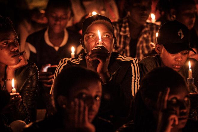 Commération, en avril 2019, à Kigali (Rwanda), du vingt-cinquième anniversaire du génocide des Tutsis. © Yasuyoshi CHIBA / AFP