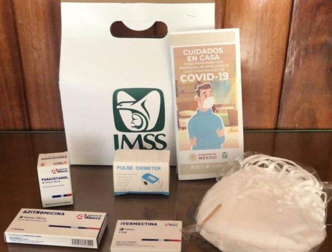 Fig.6 - Kit de traitement distribué par l'IMSS : oxymètre, ivermectine, azithromycine, paracétamol et masques © https://contactohoy.com.mx/recibir-kit-covid-19-del-imss-durango-fue-gran-aliado-en-tratamiento-para-paciente-recuperado/