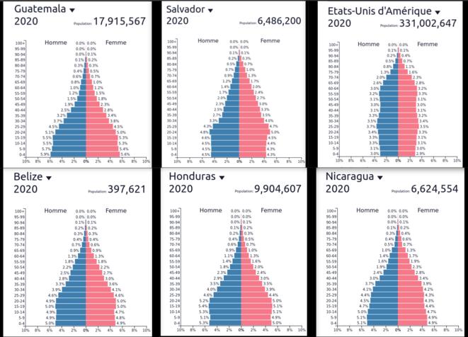 Fig.3b - Pyramide des âges du Guatemala, du Salvador, des USA, du Belize, du Honduras et du Nicaragua © www.populationpyramid.net/fr/monde/2020/