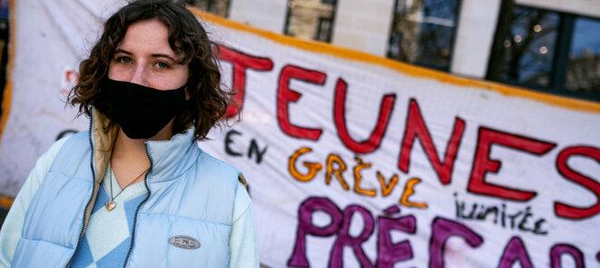 Lors d'une distribution pour les étudiant.e.s à la Sorbonne, à Paris le 24 mars 2021 © Noémie Coissac / Hans Lucas via AFP