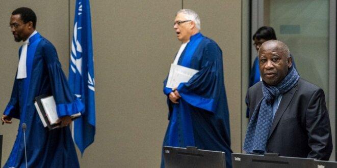 Laurent Gbagbo le 6 février 2020 devant la chambre d'appel de la CPI. © Jerry Lampen/ANP/AFP