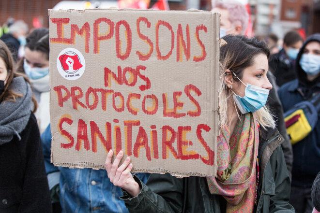 Lors d'une manifestation à Toulouse, le 26 janvier. © Frédéric Scheiber / Hans Lucas via AFP
