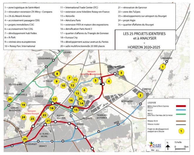 Figure 1 Les 25 projets du Grand Roissy © ECODEV-CONSEIL, 2012