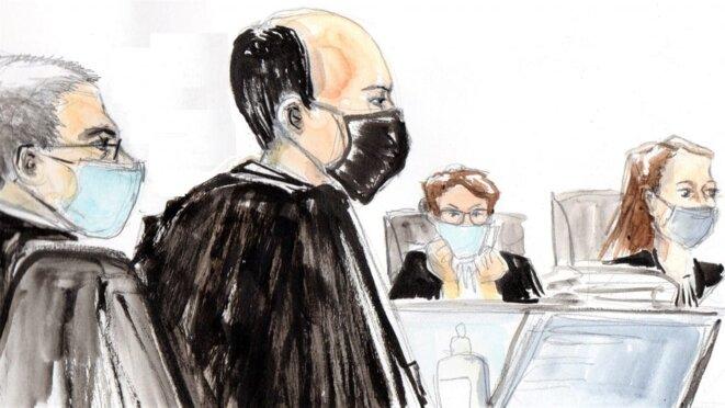 Les procureurs Patrice Ollivier-Maurel et Étienne Perrin, l'assesseure Marie-Pierre Attali et la présidente du tribunal Céline Ballerini (de g. à dr.). © Dessin Ben8.