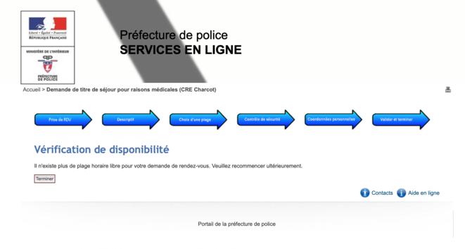 Le message qui s'affiche sur le site de la préfecture de police de Paris, indiquant qu'aucun rendez-vous n'est disponible en ligne. © Capture d'écran / Site internet de la préfecture de police de Paris