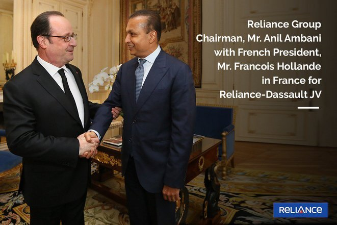 A Reliance Group PR photo of François Hollande (left) meeting with Anil Ambani at the French presidential office, the Élysée Palace, in February 2017. © Reliance
