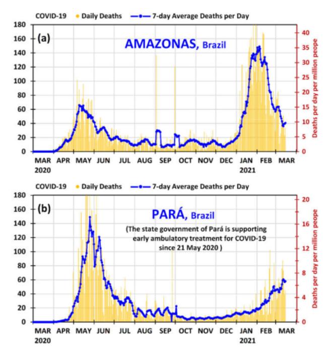 Fig.1 - Décès quotidiens dans deux états brésiliens © F.G. Emmerich