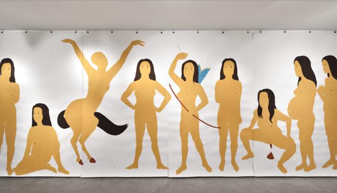 """Vue de l'exposition """"The two page book"""" de Kubra Khademi, galerie Eric Mouchet, Paris, 30 janvier - 3 avril 2021 © Photo : Rebecca Fanuele"""