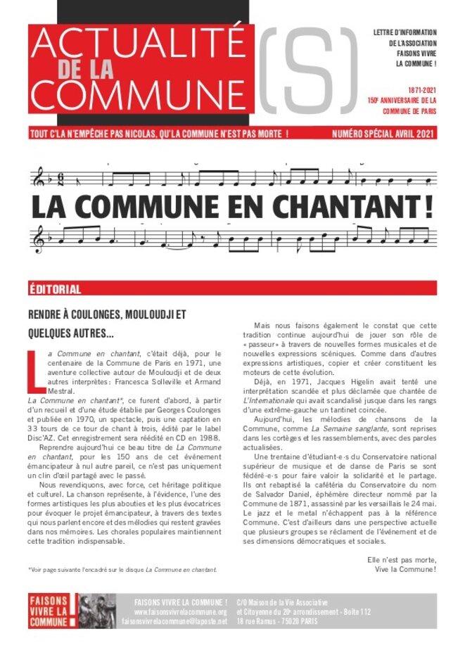 Une du n° spécial de Actualité(s) de la Commune © Faisons Vivre la Commune!
