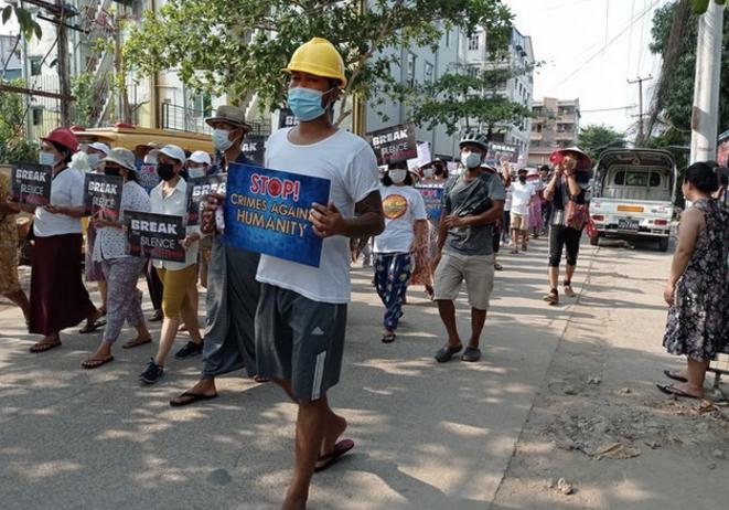 Dans le quartier de Thuwanna à Yangon le 22 mars 2021. © The Myanmar Project/Mediapart