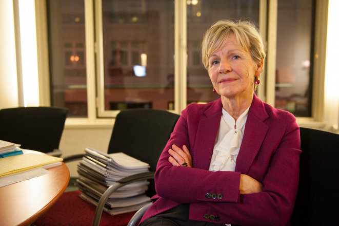 Éliane Houlette, pictured here in her Paris office in March 2014, shortly after taking up her post as head of the financial crime branch of the French public prosecution services. © Steven Wassenaar / Hans Lucas via AFP