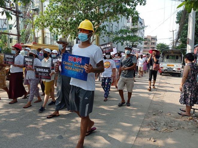 En el barrio de Thuwanna de Yangon el 22 de marzo. © The Myanmar Project/Mediapart