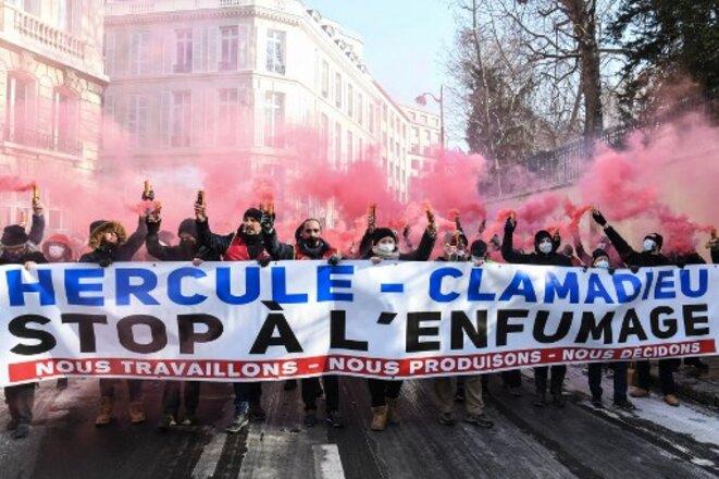 Manifestation conjointe des salariés d'EDF et d'Engie (ex-GDF) le 10 février © Alain Jocard / AFP