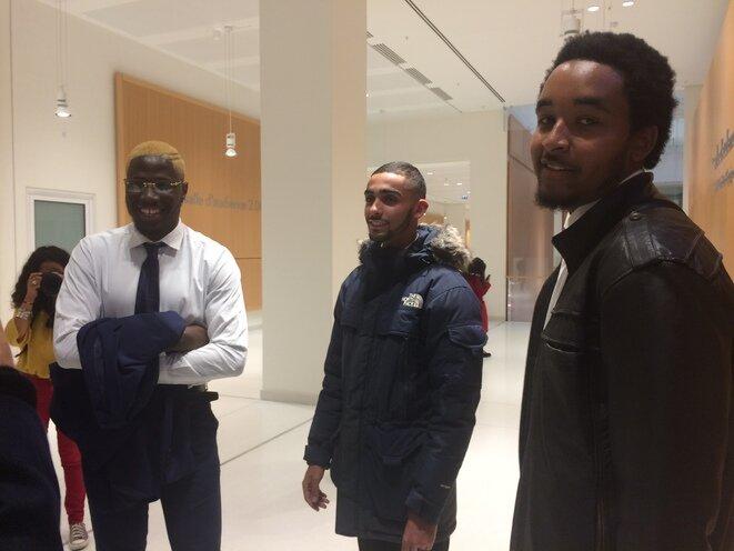 Mamadou, Ilyas et Zakaria, le 22 octobre 2018 au tribunal de grande instance de Paris. © LF / Mediapart