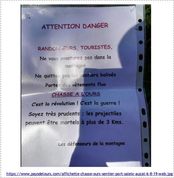 Affichette danger chasse à l'ours-sentier port saleix-auzat.png © https://www.paysdelours.com/fr/nouvelle-etape-dans-lescalade-de-la-violence-les-opposants-a-lours-menacent-les-touristes-et-randonneurs.html?