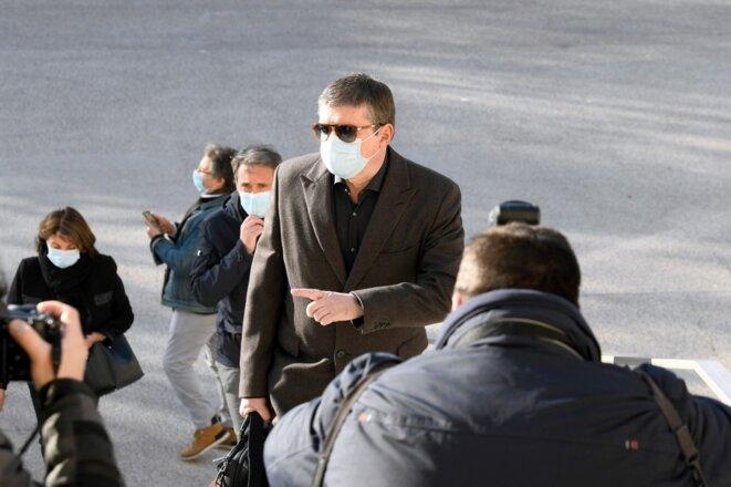 Alexandre Guérini à son arrivé au tribunal, le 15 mars 2021. © Nicolas Tucat/AFP.