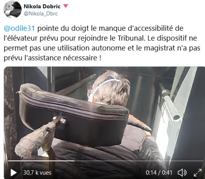 Palais de Justice de Toulouse : Monte-charge sale et branlant ne permettant pas l'accès au tribunal en autonomie
