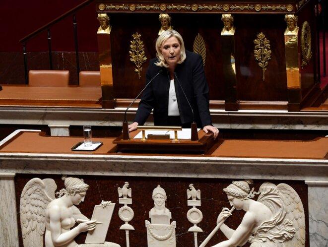 Marine Le Pen à l'Assemblée nationale, 7 octobre 2019. © Alain JOCARD / AFP