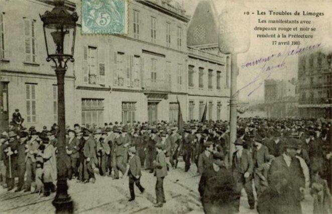 Grève à Limoges en 1905  - manifestation