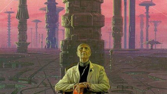 """Isaac Asimov, représenté comme le """"Hari Seldon"""" de la série """"Fondation"""" par Moebius © Moebius"""