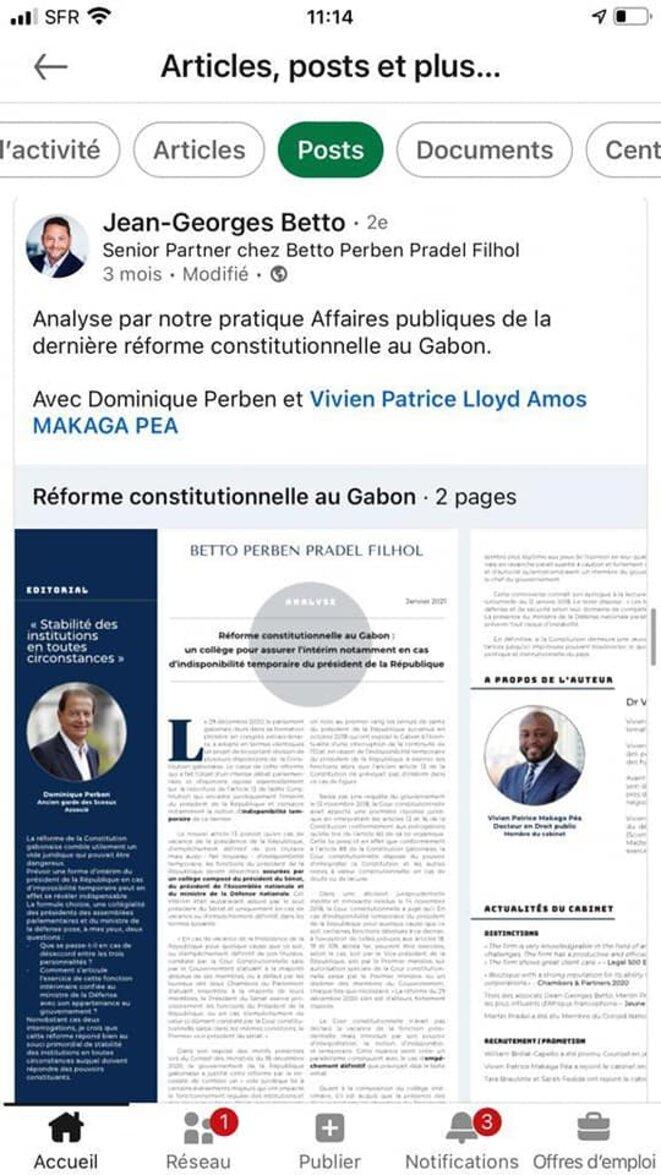 le cabinet qui défend Mme Liliane Bulabula Wamusanza, épouse Massala, Ambassadeur Haut Représentant de la République gabonaise en France.