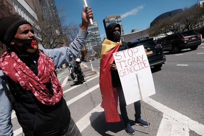 Manifestation devant le siège des Nations unies à New York, le 29 mars. © Spencer Platt/Getty Images/AFP