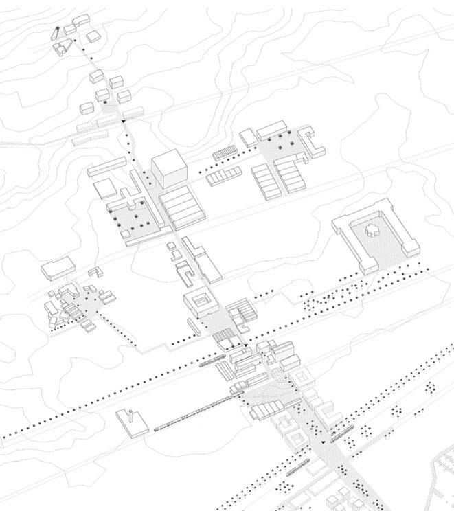 Axe piéton traversant le quartier de Hussein Dey au niveau de la minoterie avec remembrement urbain de certains îlots industriels et réorganisation de l'espace public au niveau des noeuds de croisement avec les réseaux rapides. Travail réalisé dans le cadre de l'atelier d'urbanisme du Master de spécialisation en urbanisme et aménagement du territoire de l'Université catholique de Louvain. © Roxanne D'ANDREA, Nirina LEPAGE, Anna TERNON, Marceline VERMEERSCH et Saoussen YAHYAOUI