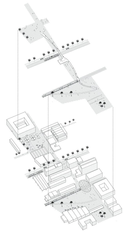 Scénarios d'aménagement d'espaces publics proposés par les étudiantes de l'UCLouvain autour de la minoterie. Ces espaces articulent entre la gare ferroviaire, l'avenue Tripoli et la mairie de Hussein Dey. © Roxanne D'ANDREA, Nirina LEPAGE, Anna TERNON, Marceline VERMEERSCH et Saoussen YAHYAOUI