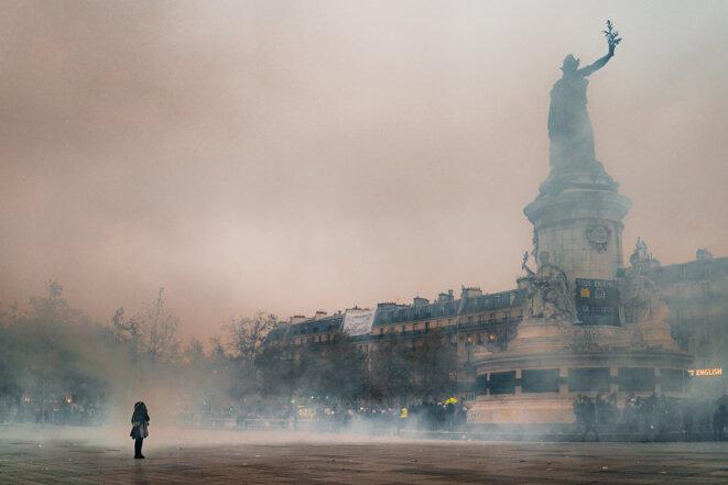 Manifestation parisienne contre la réforme des retraites. © Simon Guillemin/Hans Lucas via AFP