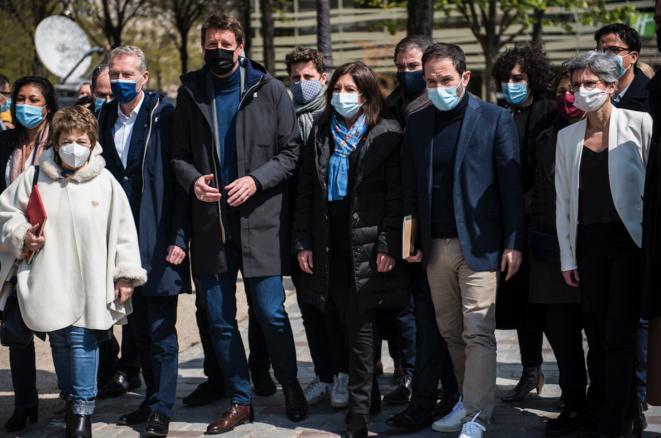 Samedi 17 avril, Yannick Jadot rencontre les representants des partis de gauche en vue de la présidentielle 2022. © Magali Cohen / Hans Lucas / Hans Lucas via AFP