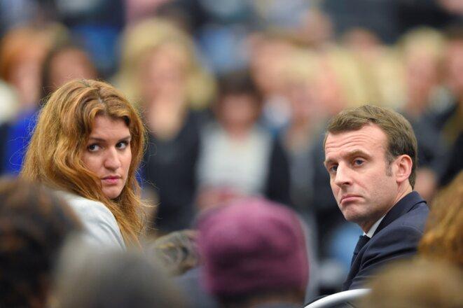 Marlène Schiappa et Emmanuel Macron, en février 2019. © Nicolas Tucat/AFP